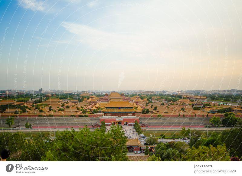 Verbotene Stadt Ferne Städtereise Chinesische Architektur Luft Himmel Stadtzentrum Altstadt Palast Stadtteil Sehenswürdigkeit Wahrzeichen Bekanntheit einfach