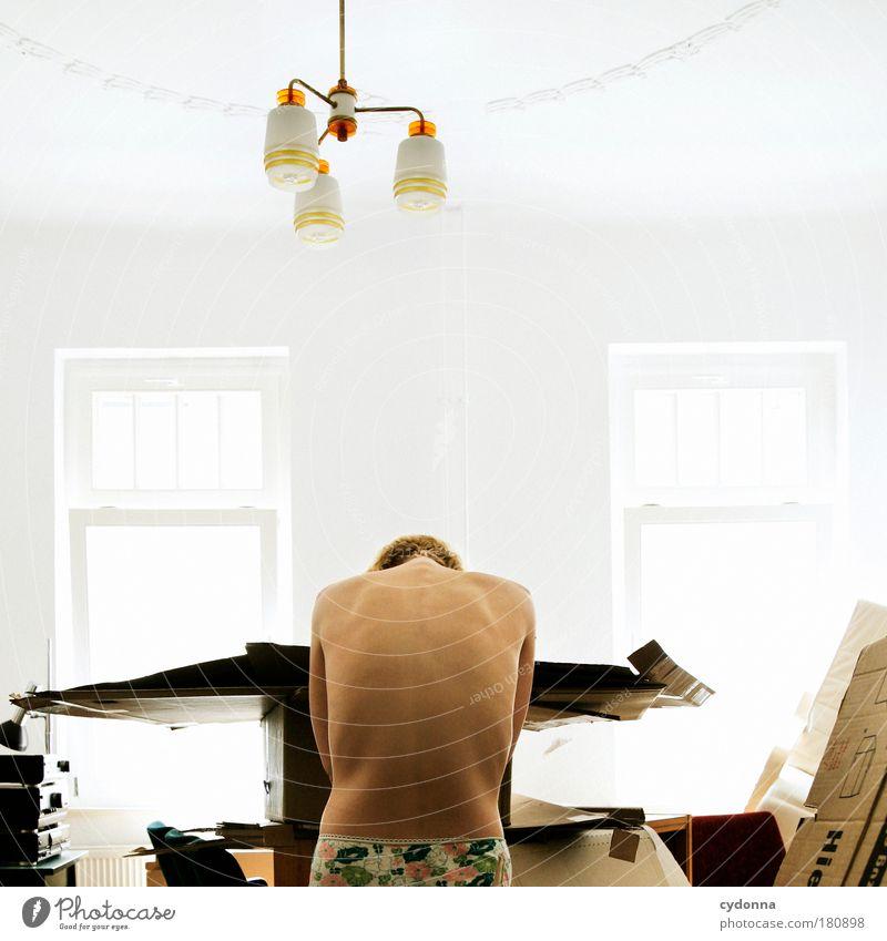 Alles Neu Frau Mensch Jugendliche Erwachsene Einsamkeit Leben Fenster Traurigkeit träumen Lampe Raum Rücken Wohnung Haut Innenarchitektur planen