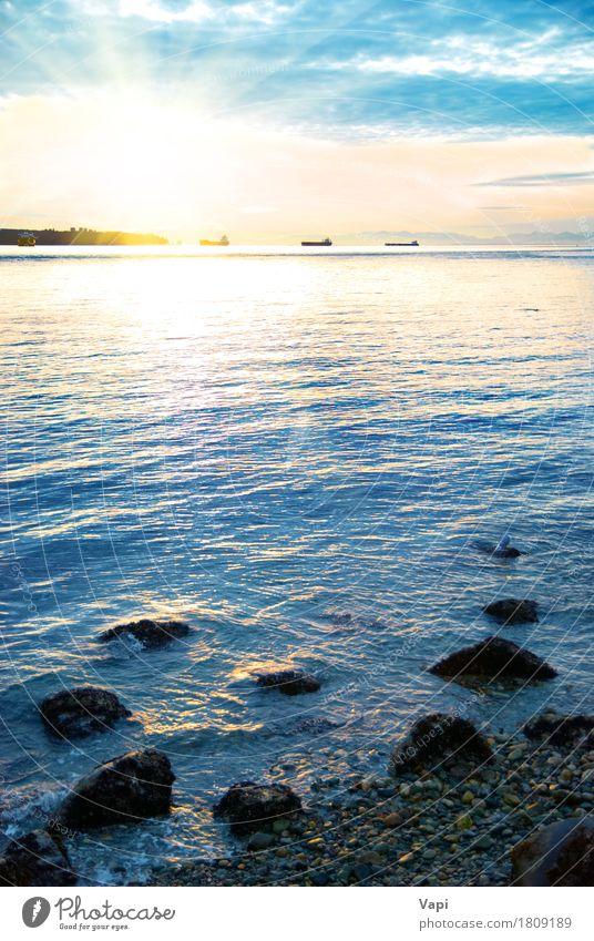 Sonnenuntergang auf dem Meer schön Ferien & Urlaub & Reisen Sommer Strand Natur Landschaft Wasser Himmel Wolken Horizont Sonnenaufgang Sonnenlicht Wetter