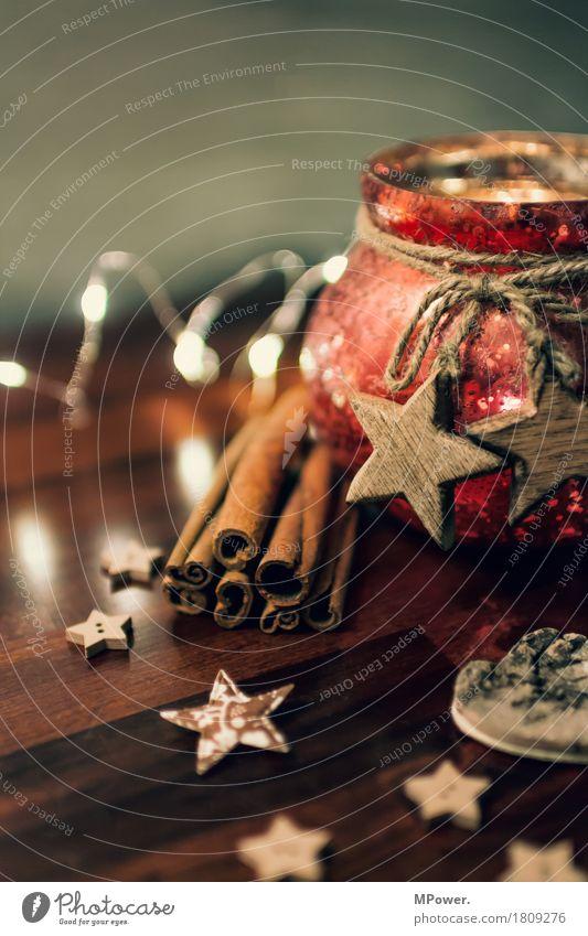 dekokrams alt Weihnachten & Advent Holz braun glänzend Dekoration & Verzierung Glas gold Stern (Symbol) Romantik Kerze Kitsch Vorfreude Schleife