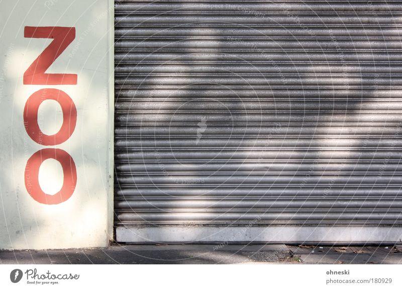 Heute geschlossen rot Tier Gebäude Schilder & Markierungen Fassade geschlossen Schriftzeichen Zoo Ladengeschäft Wildtier Bauwerk Jalousie