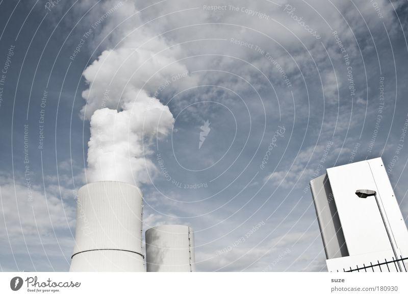 Heiter bis wolkig Wolken Denken dreckig Wetter Umwelt Industrie Energiewirtschaft Zukunft Fabrik Wandel & Veränderung Klima Emission Abgas Wirtschaft atmen