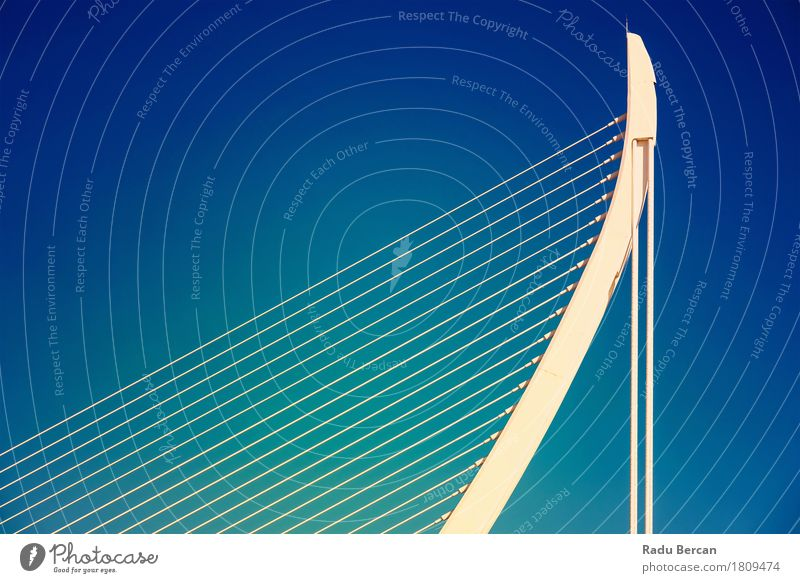 Weiße abstrakte Brücken-Struktur auf Himmel Stil Design Tourismus Freiheit Architektur Stadt Stadtzentrum Bauwerk Gebäude Metall Stahl außergewöhnlich einfach