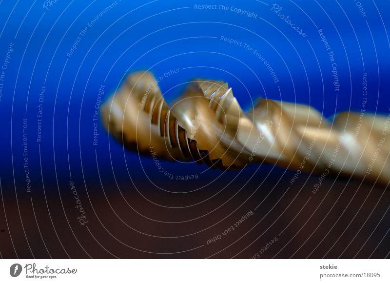 Bohrer drehen Elektrisches Gerät Technik & Technologie Bohrmaschine Bewegung blau gold Metall Fräßen Scharfer Gegenstand