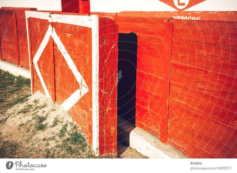 Detailansicht der Stierkampfarena der Stadt Entertainment Kultur Tier Kleinstadt Gebäude Architektur Fassade Ring Pferd historisch Tradition Arena Hintergrund