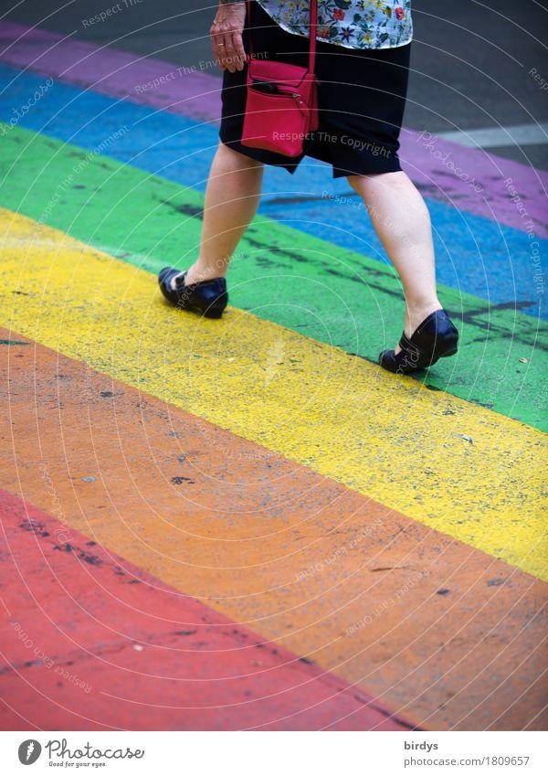 hurtig Lifestyle Stil feminin Frau Erwachsene 1 Mensch 45-60 Jahre Sommer Straße Zebrastreifen Hose Tasche Handtasche Schuhe rennen gehen laufen ästhetisch