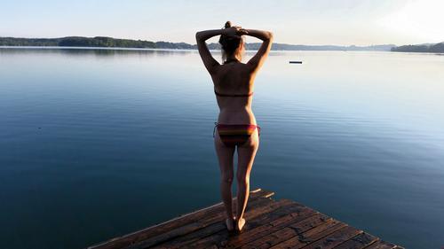 Morgenbad Glück Gesundheit Fitness Wellness Leben harmonisch Wohlgefühl Sinnesorgane Erholung ruhig Meditation Schwimmen & Baden Ferien & Urlaub & Reisen