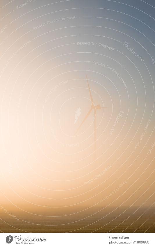 Dunstquirl Energiewirtschaft Fortschritt Zukunft High-Tech Erneuerbare Energie Windkraftanlage Umwelt Natur Landschaft Himmel Sonnenaufgang Sonnenuntergang