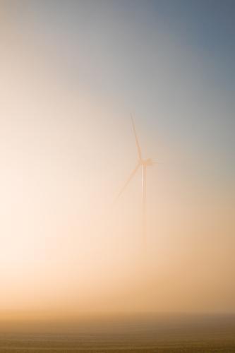Windkraftanlage im Nebel Energiewirtschaft Fortschritt Zukunft High-Tech Erneuerbare Energie Umwelt Natur Landschaft Himmel Sonnenaufgang Sonnenuntergang