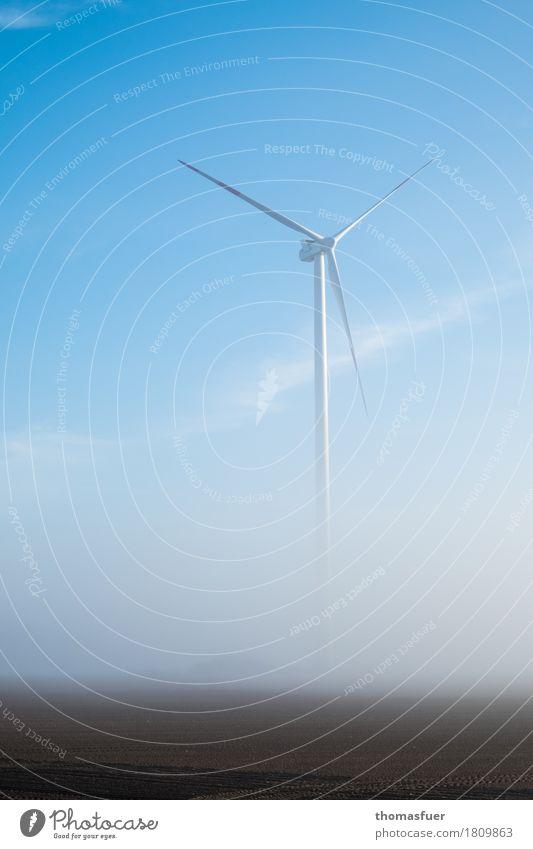 Windkraftanlage, Nebel Energiewirtschaft Fortschritt High-Tech Erneuerbare Energie Umwelt Natur Landschaft Himmel Sonnenaufgang Klima Klimawandel Feld ruhig