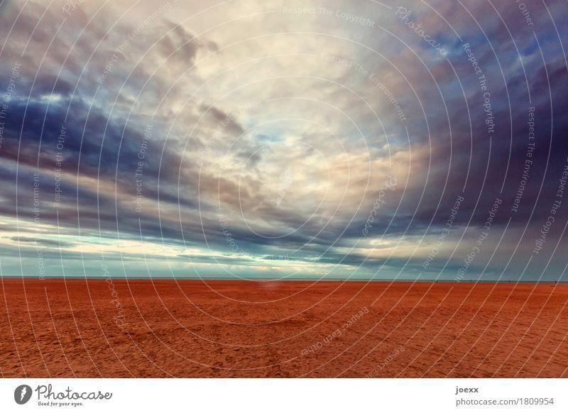 Weiter Landschaft Himmel Wolken Horizont Schönes Wetter Küste Strand blau braun grau weiß ruhig Fernweh Natur Ferne Ebene Ouistreham Farbfoto mehrfarbig