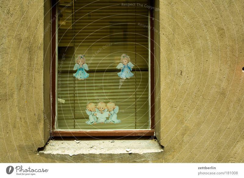 Engel Haus Wand Fenster Wohnung Glas Dekoration & Verzierung Häusliches Leben Schmuck Fensterscheibe Etikett Scheibe Textfreiraum Glasscheibe Schutzengel