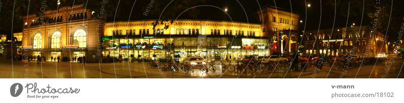 Hannover Hauptbahnhof Panorama (Aussicht) Nacht Gebäude Architektur Ferien & Urlaub & Reisen Eisenbahn Bahnhof Stitch groß Panorama (Bildformat)