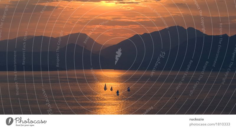 Sunset, Evening, Lake Garda, Freizeit & Hobby Ferien & Urlaub & Reisen Sonne Berge u. Gebirge Landschaft Wasser Wolken Alpen See Segelboot Wasserfahrzeug