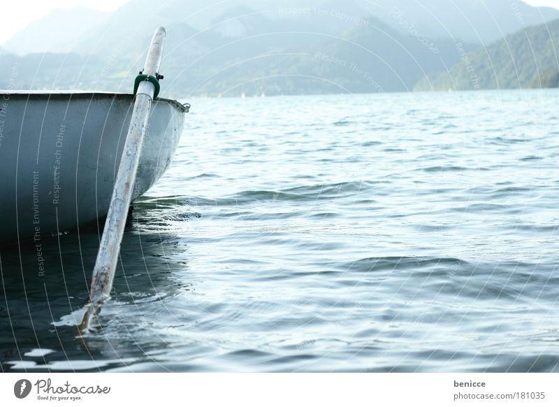 Silencio Natur blau Sommer Ferien & Urlaub & Reisen ruhig See Landschaft Wasserfahrzeug leer Romantik Österreich harmonisch Rudern Ruderboot