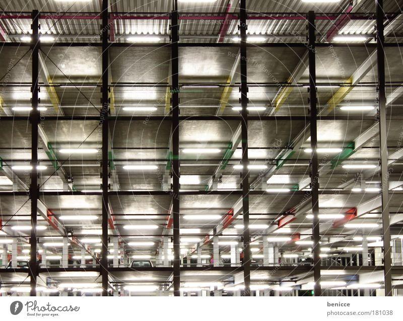 Cubus Parkhaus Gebäude Architektur mehrfarbig Farbe Futurismus modern Etage würfeln Würfel Licht Lampe Zukunft Science Fiction Haus parken Nachtaufnahme