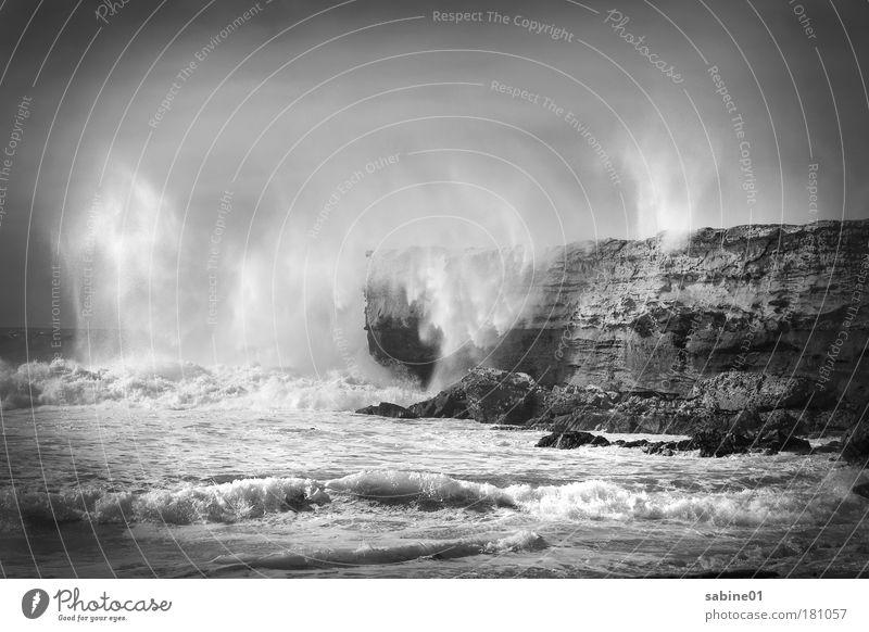 Sturm Natur Wasser Meer Strand Ferne Stein Sand Landschaft Stimmung Wellen Küste Wind Wetter Umwelt nass Horizont