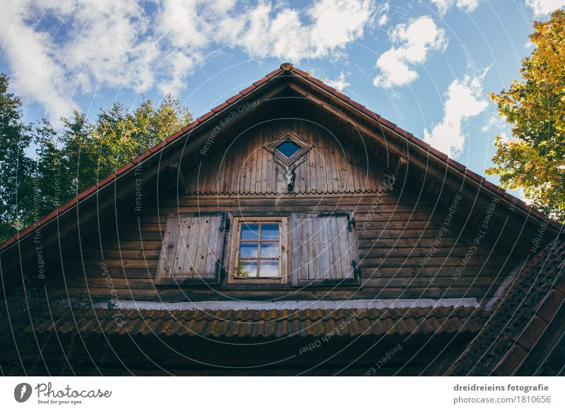 Jagdhütte im Wald Dorf Haus Einfamilienhaus Hütte Erholung wandern einzigartig Geborgenheit Einsamkeit Dachgiebel Holzhaus Himmel Jagdrevier