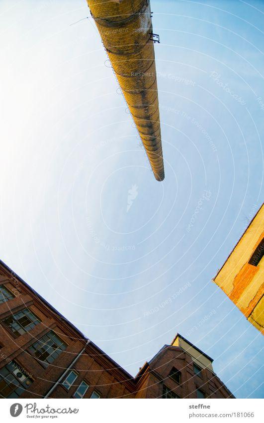 Mach ein Q draus Himmel gelb Traurigkeit Fabrik Schornstein Industrieanlage