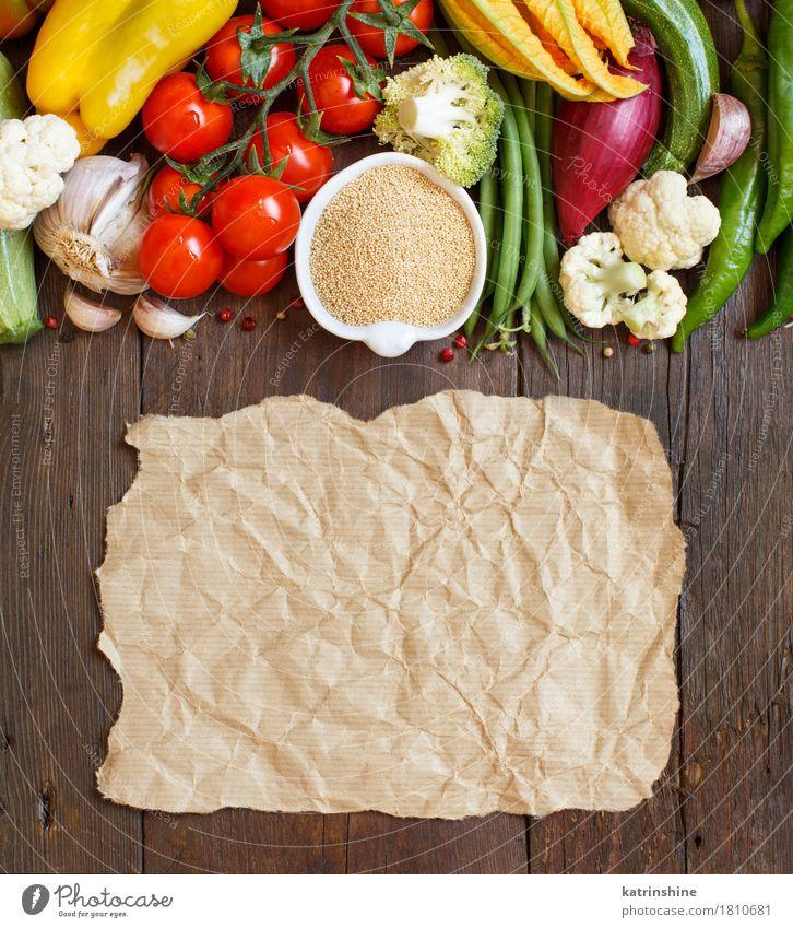 grün rot gelb natürlich frisch Papier Gemüse Getreide Schalen & Schüsseln Mahlzeit Vegetarische Ernährung Diät Tomate getrocknet roh Zutaten