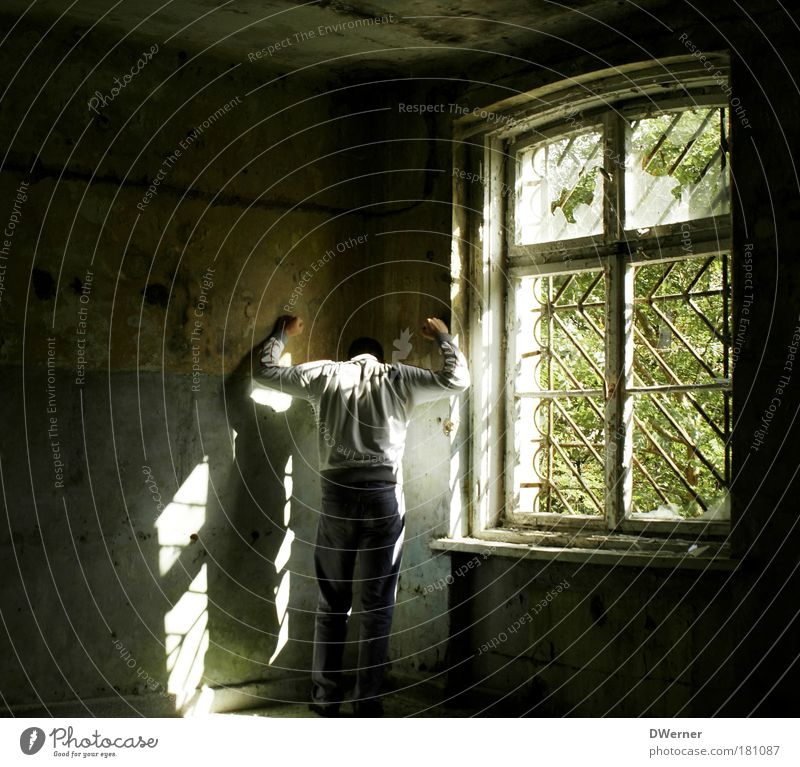 hinter Gittern II Mensch dunkel Fenster Wand Gefühle Mauer Traurigkeit dreckig maskulin verrückt stehen trist fantastisch Krankheit Blühend gruselig