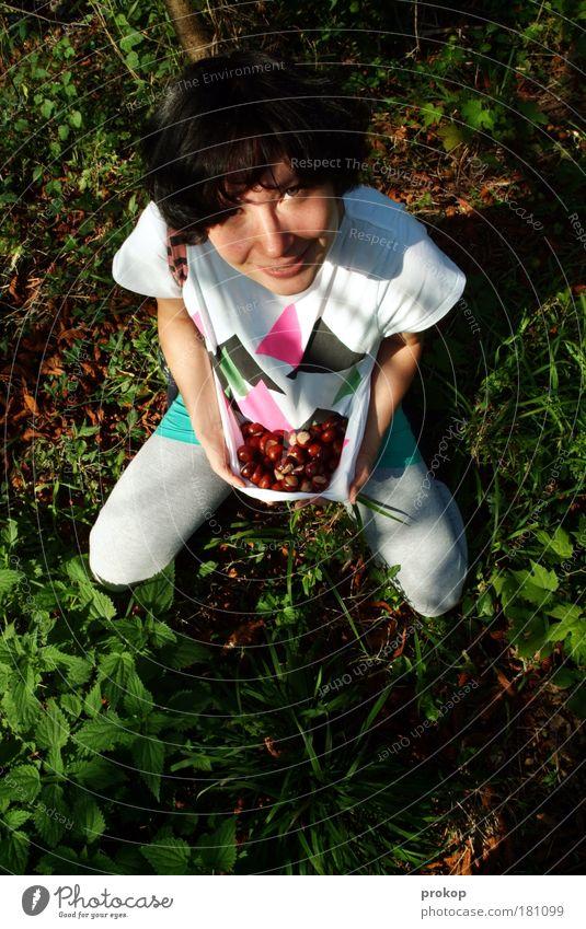 Jäger und Sammler Frau Mensch Natur Jugendliche Baum Pflanze Freude Wald feminin Herbst Umwelt Gefühle Gras Glück Erwachsene