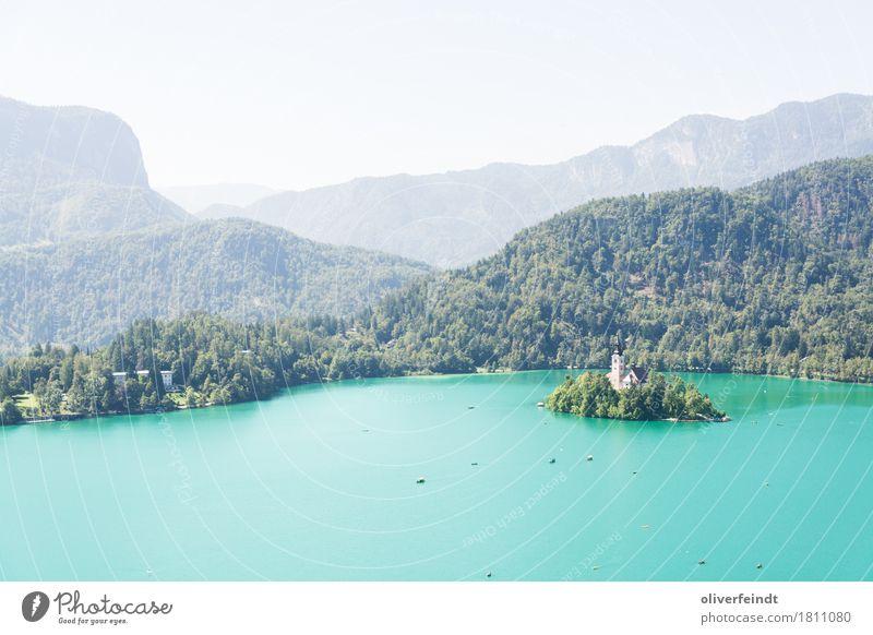 Slowenien - Bled Ferien & Urlaub & Reisen Ausflug Abenteuer Ferne Freiheit Umwelt Natur Landschaft Wasser Himmel Wolkenloser Himmel Schönes Wetter Hügel