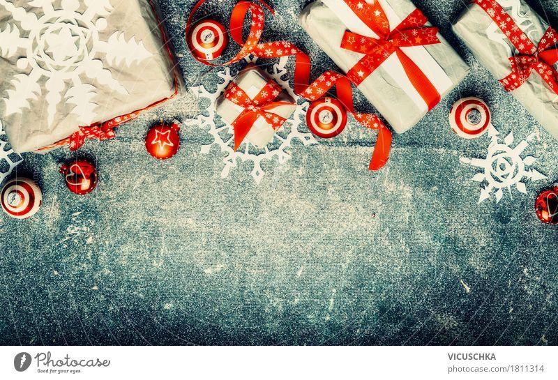 Weihnachtsgeschenke mit rote Dekorationen blau Weihnachten & Advent schön Freude Winter Hintergrundbild Stil Feste & Feiern Design Dekoration & Verzierung retro