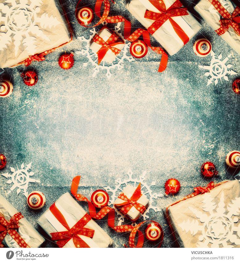 Weihnachten Hintergrund mit Geschenke und Dekoration Lifestyle kaufen Stil Design Häusliches Leben Wohnung Dekoration & Verzierung Veranstaltung Feste & Feiern