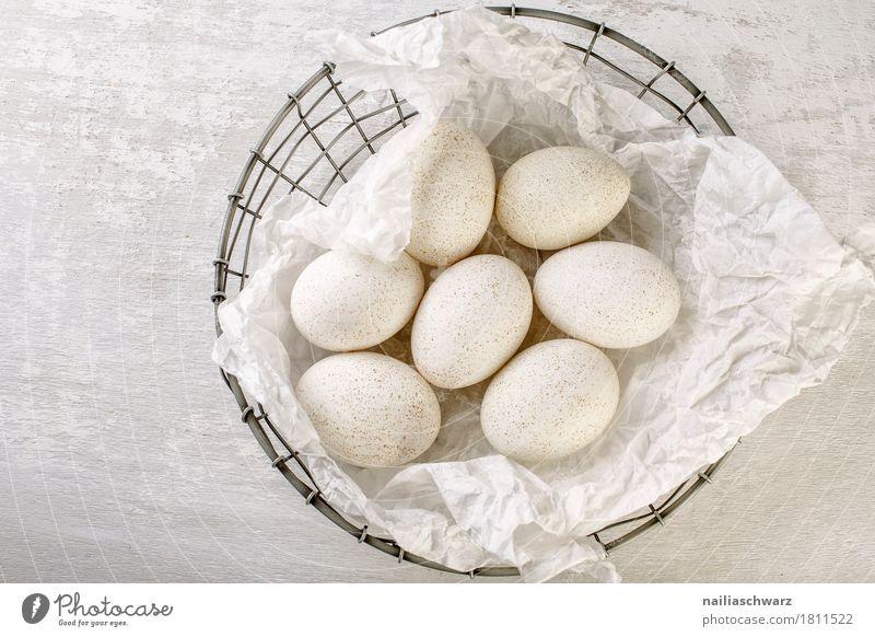 Stillleben mit Gänseeier Lebensmittel Ei Ernährung Frühstück Bioprodukte Vegetarische Ernährung Schalen & Schüsseln Holz Metall authentisch einfach lecker
