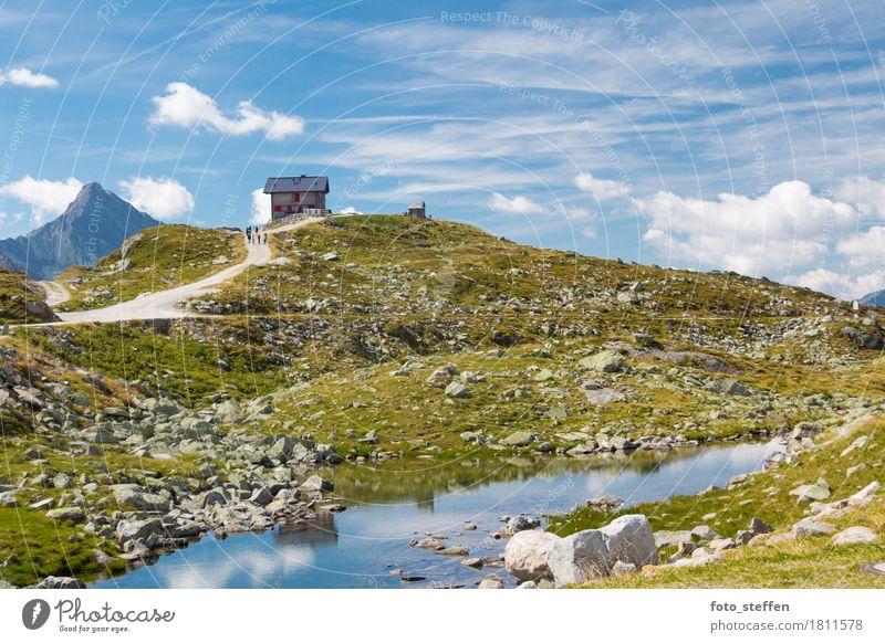 Pfitscher Joch Haus Himmel Natur blau Sommer grün Wasser Landschaft Erholung Wolken ruhig Berge u. Gebirge gelb natürlich Gras Freiheit Felsen