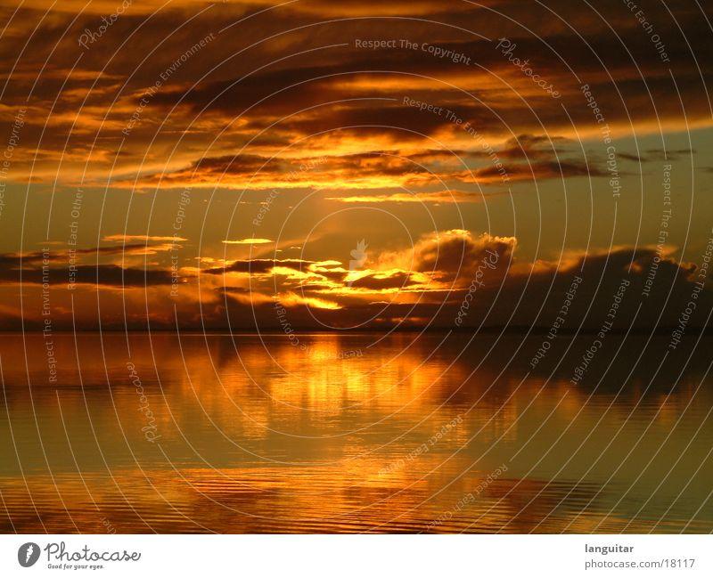 Sonnenuntergang in Dänemark See rot Wolken Romantik Ferne Dämmerung Meer Abend Gefühle schön orange Himmel Wasser ausklang Abenddämmerung gemalt