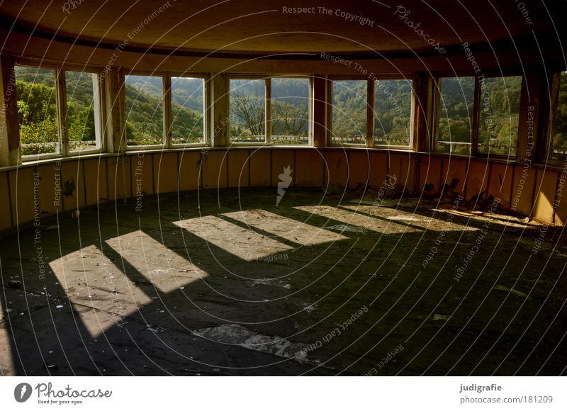 Innen | Außen alt Einsamkeit Wald dunkel Wand Fenster Traurigkeit Mauer Gebäude Architektur rund Aussicht Wandel & Veränderung Häusliches Leben Vergänglichkeit Verfall