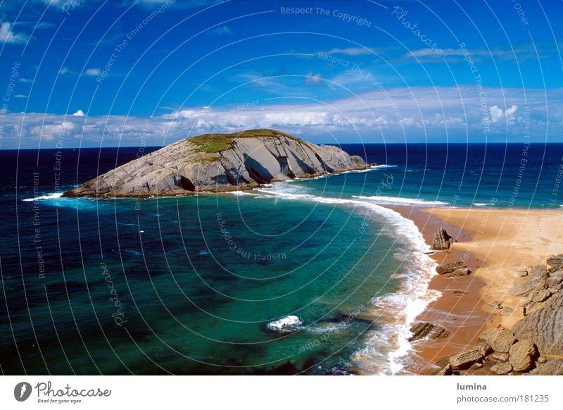 Insel im Norden Spaniens Himmel Ferien & Urlaub & Reisen Sommer Wasser Erholung Meer Landschaft Wolken Strand Wärme Küste gehen Sand Horizont Wellen Insel