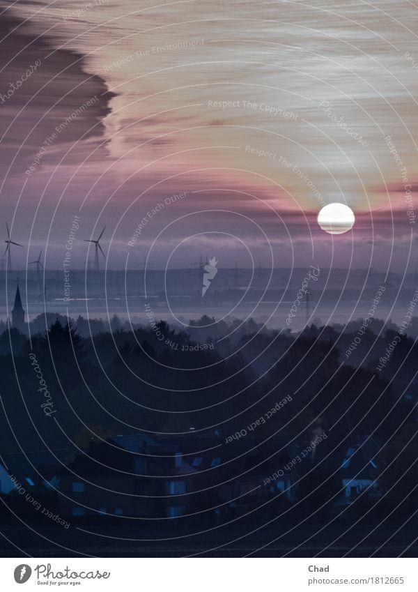 Auf Gang Windkraftanlage Umwelt Natur Landschaft Luft Himmel Wolken Horizont Sonne Sonnenaufgang Sonnenuntergang Herbst Nebel Hügel Vorgebirge außergewöhnlich