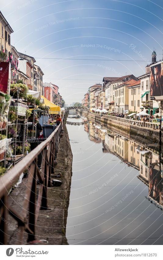 Milano Porto Genova II Ferien & Urlaub & Reisen Tourismus Städtereise Mailand Italien Stadt Altstadt Brücke Markt Marktstand Kanal Reflexion & Spiegelung Wasser