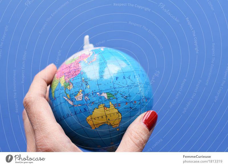 Globus_1813319 Klima Klimawandel Erde Australien Malaysia Indonesien Papua Neuguinea Australien + Ozeanien Topografie Hand Finger blau Weltreise Philippinen