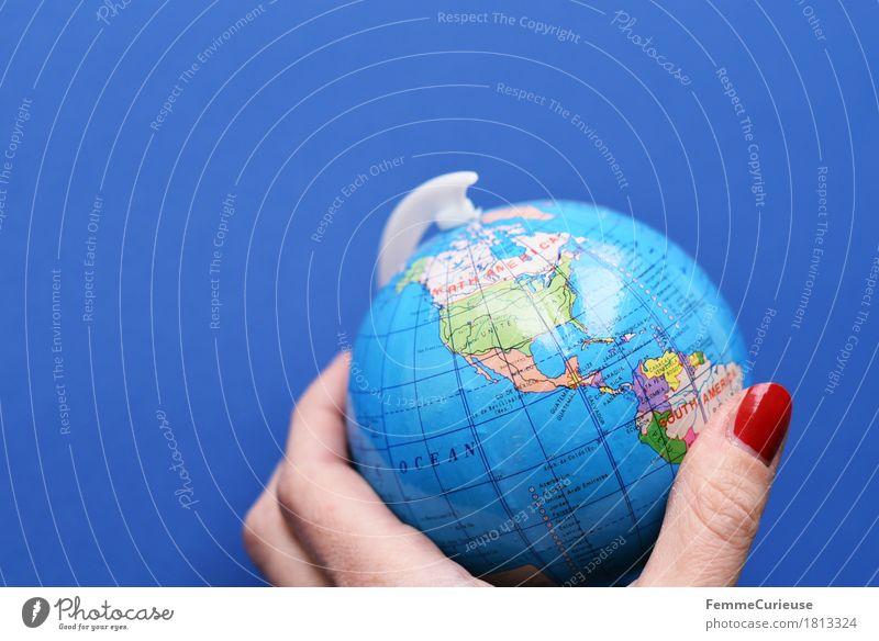 Globus_1813324 Klima Klimawandel Erde Tourismus USA Mexiko Kalifornien Kanada Amerika Topografie festhalten stagnierend Hand Finger Globalisierung global