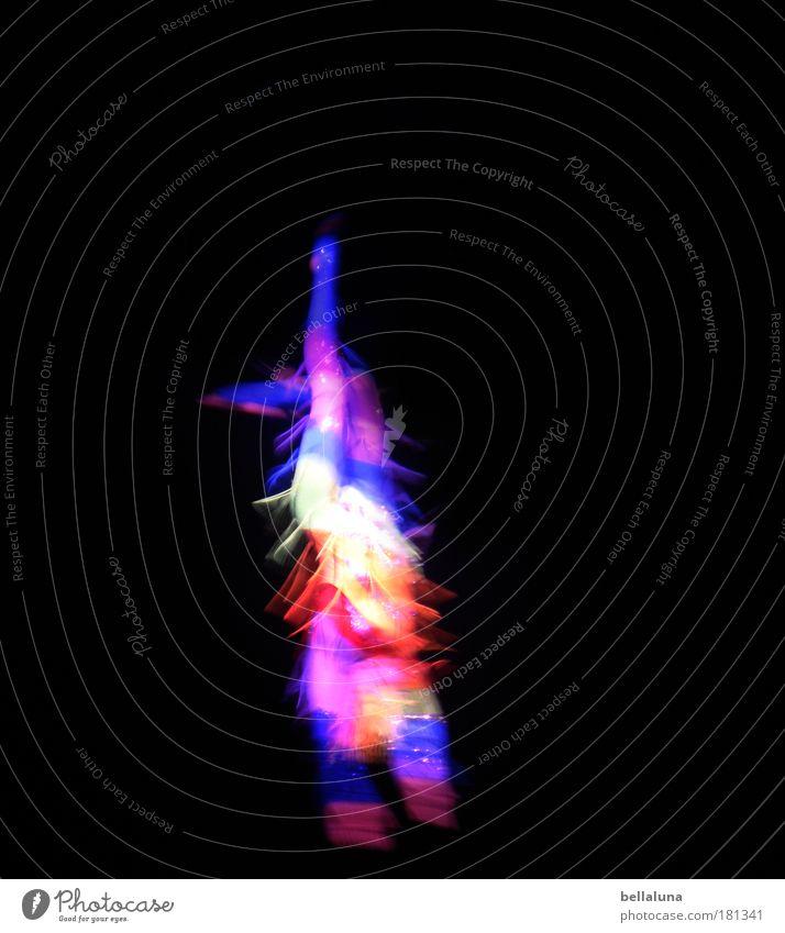 Regenbogentänzer schön Freude Glück Stimmung Tanzen Kunst verrückt Geschwindigkeit Nacht dünn Lebensfreude Künstler Zirkus Tänzer Begeisterung Euphorie