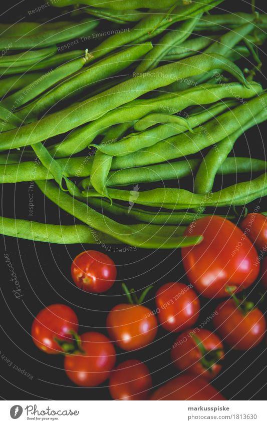 frische bio ernte Lebensmittel Gemüse Tomate Bohnen Ernährung Essen Mittagessen Picknick Bioprodukte Vegetarische Ernährung Diät Fasten Slowfood Lifestyle