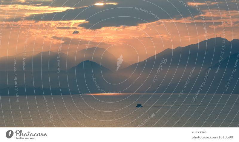 clouds, thunderstorm, sunset; Evening Freizeit & Hobby Ferien & Urlaub & Reisen Sonne Berge u. Gebirge Landschaft Wasser Wolken Gewitter Alpen See Stimmung