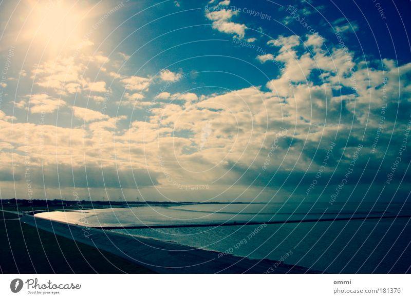 Flut & Flutlicht Landschaft Luft Wasser Himmel Wolken Horizont Sonne Sonnenlicht Schönes Wetter Küste Nordsee Deich Ferne Freundlichkeit hell blau weiß Glück