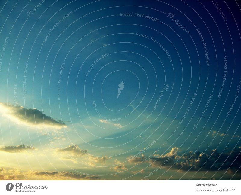 Last Shine of Day Natur Himmel blau ruhig Wolken gelb Ferne Wärme Zufriedenheit hell Beginn ästhetisch Romantik berühren Sonnenuntergang leuchten