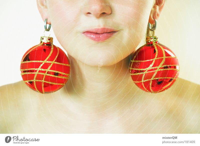 Wintermode. Frau Jugendliche Weihnachten & Advent rot Winter Kunst Mode ästhetisch verrückt Geschenk Show trendy Schmuck Sammlung Vorfreude dumm