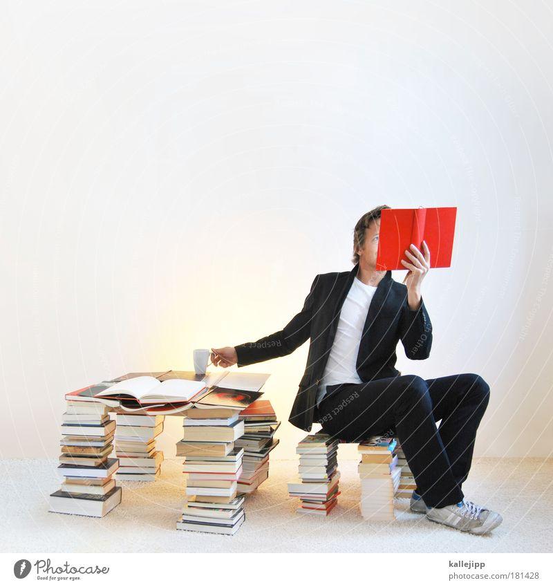 der vorleser Mensch Medien Informationstechnologie Mann Kultur rot ruhig Erwachsene Raum Leben Stil Ernährung Wohnung Freizeit & Hobby Buch maskulin