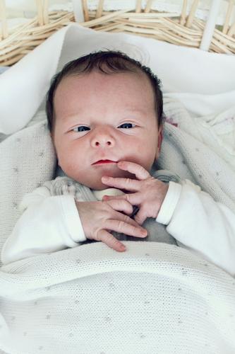 Tag 12 Mensch weiß feminin Familie & Verwandtschaft klein Kindheit Baby Bett Decke schwarzhaarig 0-12 Monate Silberblick Kinderbett