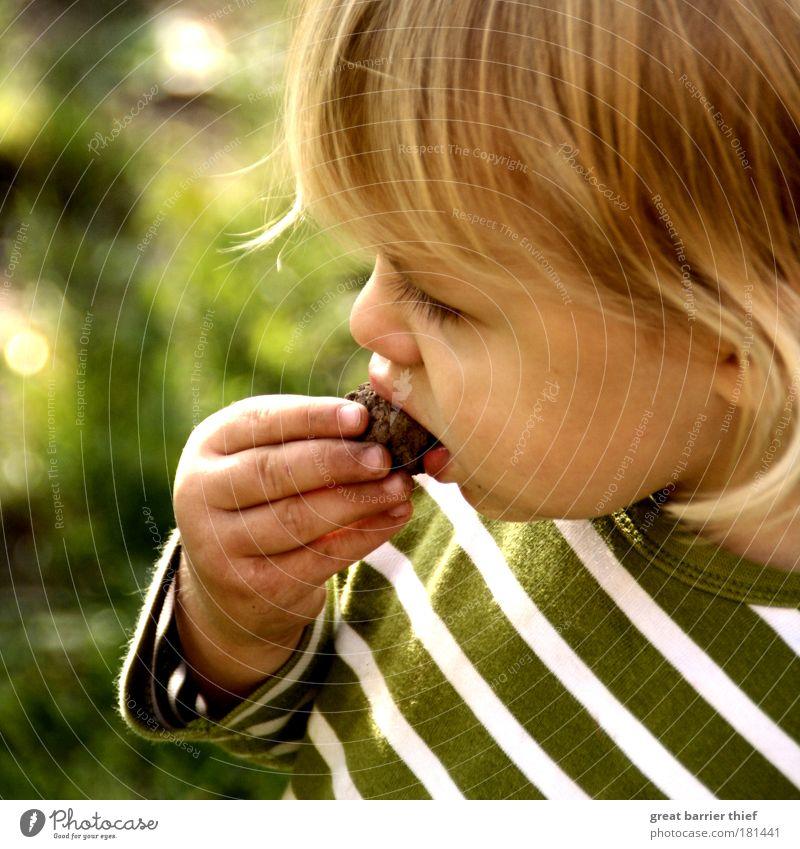 Steinbeißer Mensch Kind grün Kopf Stein Essen maskulin Porträt Freundlichkeit berühren Kleinkind Außenaufnahme positiv Pullover gestreift hart