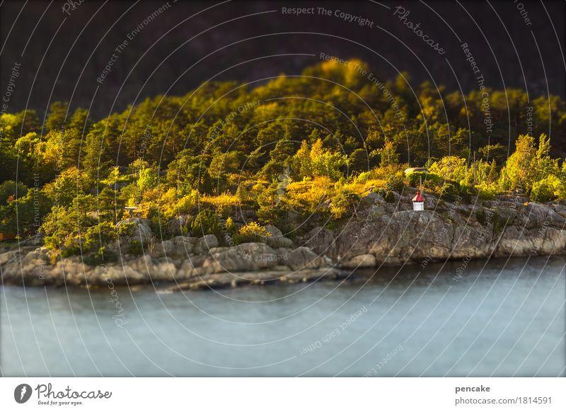 kleine leuchte Ferien & Urlaub & Reisen Wasser Landschaft Wald Herbst Küste Felsen Schönes Wetter Zeichen Urelemente Schifffahrt Leuchtturm maritim Norwegen
