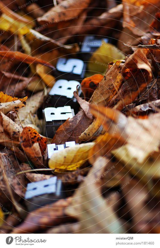 Rascheln. Natur Blatt Herbst Luft braun Wetter Schriftzeichen Boden Spaziergang Buchstaben Suche Jahreszeiten verstecken Herbstlaub Text herbstlich