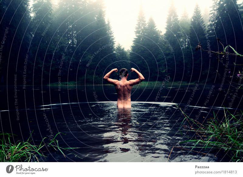 Stärkster Mann im Teich Mensch Jugendliche schön Freude Wald 18-30 Jahre Erwachsene kalt Leben Gesundheit Schwimmen & Baden See maskulin Rücken Fitness Seeufer